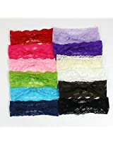 12 Assorted Wide Lace Headbands For Girls