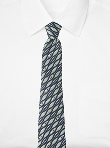 Emilio Pucci Men's Wave Tie, Black/Grey