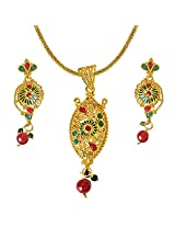 Surat Diamonds Gold Plated Pendant Earring Set with Fine Green and Red Stone with Chain 22IN for Engagement Wedding for Women (PS297)