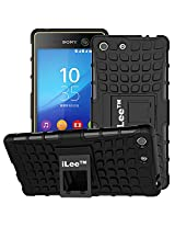 iLee Premium Kickstand Hybrid Back Cover for Sony Xperia M5/M5 DUAL - Color: Black (12 Months Warranty)