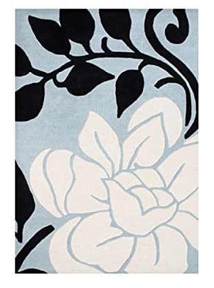 Horizon Alliyah Collection Bold Floral Rug (Cream/Black/Aqua)