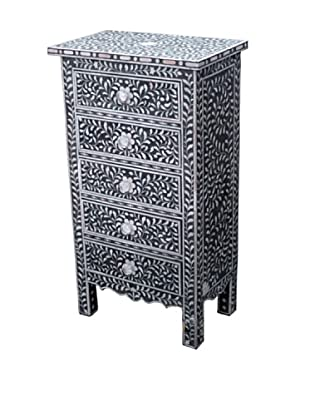 Shine Creations 5-Drawer Chest, Blue/White