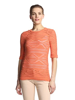 SVEE Women's Open Stitch Knit Top (Tangerine)