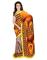 Sonal Trendz Yellow & Orange Color Printed Saree. Weightless Fabric Printed Saree with Lace & Blouse. Festive Wear.