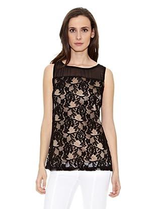 Cortefiel Camiseta Croche Negro (Negro)