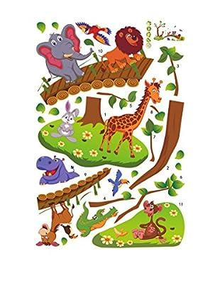 Ambiance Sticker Wandtattoo Funny Animals On Wooden Bridge