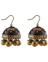 Avarna Terracotta Jhumki Hanging Earrings Jhb0004 For Women (Black )