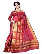 Asavari Scarlet Maroon Contemporary Design Art Silk Banarasi Saree