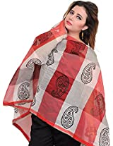 Exotic India Double-Shaded Chanderi Dupatta with Printed Paisleys - Color RedColor Free Size