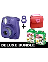 Fujifilm Instax Mini 8 - Purple + 40 Pack Instax Film + Butterfly Red Gm Bag + Purple Selfie Mirror