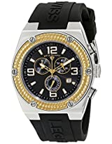 Swiss Legend Watches, Men's Throttle Chronograph Black Dial Gold Tone Bezel Black Silicone, Model 30025-01-GB