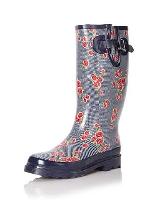 Chooka Women's Dotty Flowers Rain Boot (Navy)