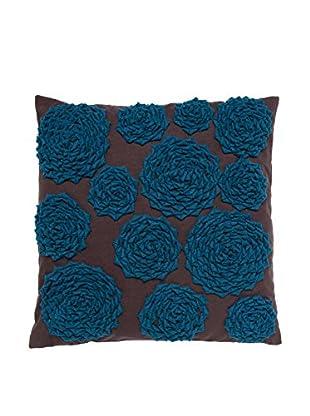 Cloud 9 Felt Circle Throw Pillow, Chocolate/Blue