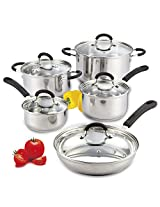 Cook N Home 10 Piece Stainless Steel Cookware Set with Encapsulated Bottom, Large, Silver