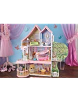 "KidKraft Home Indoor Kids Room Decorative Fancy Nancy Dollhouse 12"" Tall Play Set 15 Piece Furniture"
