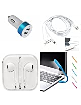 Panasonic Eluga I2 4g Compatible Ceritfied Mobile Care Combo Kit of Metal Dual Car Charger , 3 in 1 Cable , USB LED Light (Use in any USB Port) , Earphones (with mic)