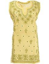 Lucknow Chikan Industry Women's Cotton Straight Kurta (LCI-393, Yellow, L)