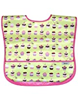 Large Waterproof Coverall Bib with Flip Over Pocket, 2 Pack - Cupcake + Solid Pink, Frenchie Mini Couture