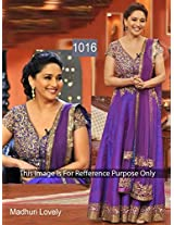 Bollywood Replica Madhuri Dixit Raw Silk And Shantoon Suit In Blue Colour Nc 583
