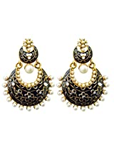 Dhwani Creation Drop Alloy Earrings For Girls and Women (Black)