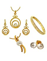Surat Diamonds Set of 2 Real Freshwater Pearls & Gold Plated Pendant Earring Sets with Gold Plated Kada for Women (H1400)