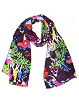 Wrapables Luxurious 100% Charmeuse Silk Long Scarf with Hand Rolled Edges, Girls at Play