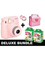 Fujifilm Instax Mini 8 - Pink + 40 Pack Instax Film + Butterfly Pink Gm Bag + Pink Selfie Mirror