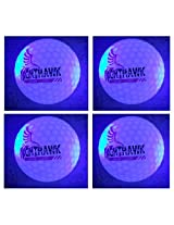 NEW 4 Blue Nighthawk Glow In Dark LED Light Up Golf Balls Official Size Constant Lit