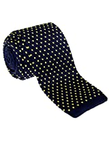 "Retreez Casual V Heart Shape Pattern Men's 2.4"" Skinny Knit Tie - Navy Blue with Yellow"