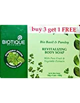 Biotique Bio Basil & Parsley Revitalizing Body Soap, 150g, Promo Pack of 4