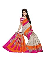 Sun Merchandise Beautiful Bhagalpur Light Grey & Pink Color Tanjavur Silk Saree