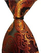 Brown Paisley Jacquard Woven Mens Tie Necktie Cravat