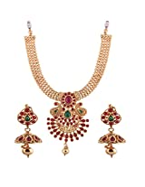 Ganapathy Gems 1 Gram Gold Plated Traditional South Indian Temple Jewellery Set With Pearls.