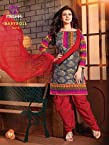 Baby Doll - Grey Red Embroidered Printed Cotton Patiala Unstitched Suit BD01