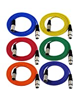 GLS Audio 6ft Patch Cable Cords - XLR Male To XLR Female Color Cables - 6' Balanced Snake Cord - 6 PACK