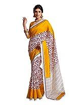Fabdeal Yellow & White Art Silk Printed Saree Sari Sarees-VFPSR8006ASML