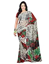 Admyrin Off-white Printed Saree with Red Georgette Blouse