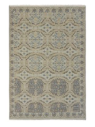 eCarpet Gallery One-of-a-Kind Hand-Knotted Ushak Rug, Cyan, 6' x 8' 10