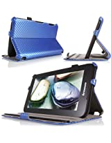 MoKo Slim-Fit Multi-angle Folio Cover Case for Lenovo IdeaTab A1000 7-Inch Android Tablet Carbon Fiber BLUE