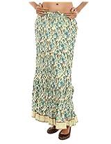 Rajrang Printed Crinkle Cotton Long Skirt Lace Work