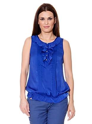 Cortefiel Blusa Volantes (Azul)