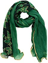 MALTDZ Women's Shimmer Fabric Scarf (Green)
