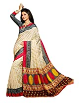 Beige Color Art Bahgalpur Silk Saree with Blouse 12552