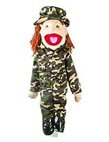 """Sunny Toys 28"""" Brunette-Haired Girl In Army Uniform Full Body Puppet"""