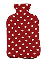 PLUCHI Red 100 % cotton Dots All the Way Hot water bag cover