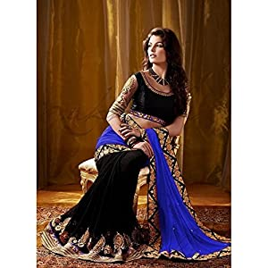 Designer Bollywood Style Black Blue Georgette Sari Saree Lehenga TR03