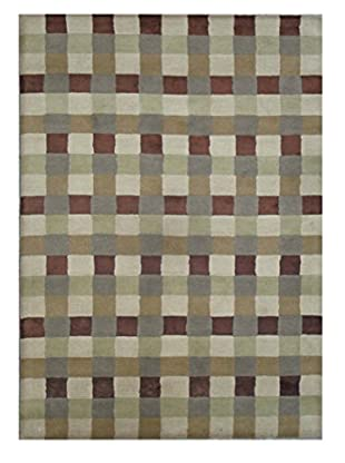 Contemporary Plaid Tufted Rug, Green/Tan Multi, 5' x 8'