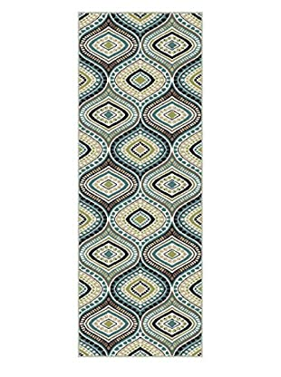 Universal Rugs Capri Contemporary Runner, Blue, 2' x 8'