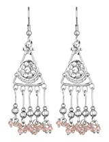 Khubsurat Silver Tone Fashion Designer Stone Stud Fish Hook Earring with Pink Crystal long Drop