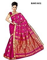 Minaxi Cotton Saree (1039 _Rani Red)